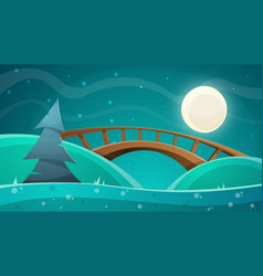 cartoon night landscape moon bridge fir sky vector image vector image