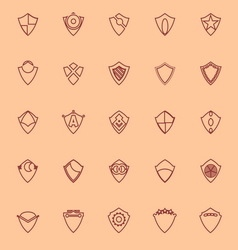 Design shield brown line icons vector image