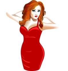 model in a red dress vector image vector image