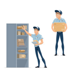 postman delivery man mailman or courier icon vector image vector image