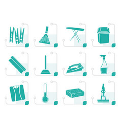 stylized home objects and tools icons vector image