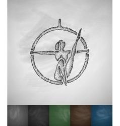 Trapeze artist icon hand drawn vector