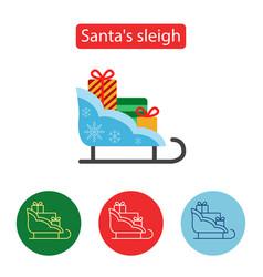 christmas sleigh gift flat icon vector image vector image