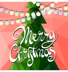 Christmas tree decorated with multicolored garland vector image vector image