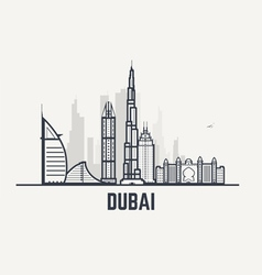 Dubai black and white lines view vector image