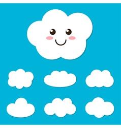 Flat design cartoon cute cloud character and set vector image