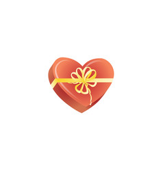 happy valentines day present heart box vector image vector image