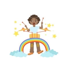 Boy playing drums with rainbow and clouds vector