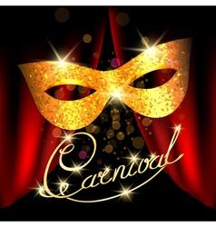 Carnival emblem with golden mask vector image