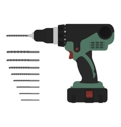 Electric cordless hand drill with bits green and vector