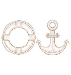 lifebuoy and anchor - sea symbols hand drawn vector image vector image