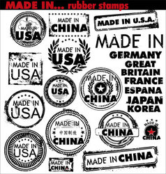made in rubber stamps vector image