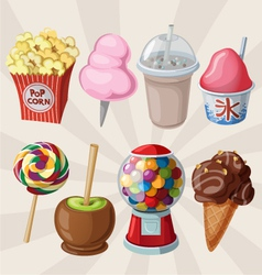 Set of fair sweets and treats vector image vector image