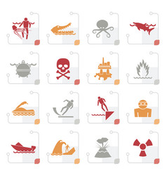 stylized warning signs for dangers in sea ocean vector image vector image