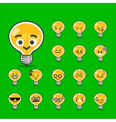 Collection of difference emoticon bulb lamp vector image