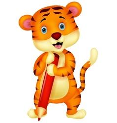 Cute tiger cartoon holding red pencil vector image vector image