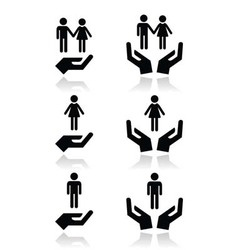 Man woman and couples with hands icons set vector image vector image