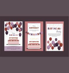 Set happy birthday cards vector