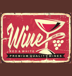 wine vintage tin sign vector image vector image