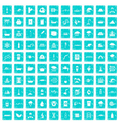 100 water supply icons set grunge blue vector