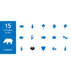 15 forest icons vector