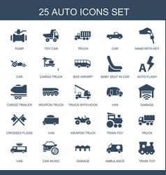 25 auto icons vector image