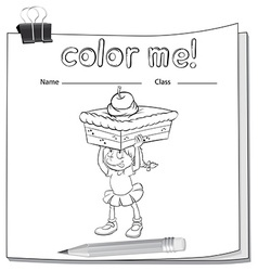 A worksheet showing a girl carrying a cake vector image