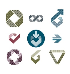 Abstract unusual lined icons set creative symbols vector
