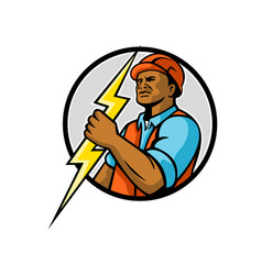 African american electrician lightning bolt mascot vector