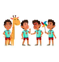 Arab muslim boy kindergarten kid poses set vector