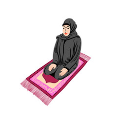 Arab muslim woman praying on a praying carpet vector