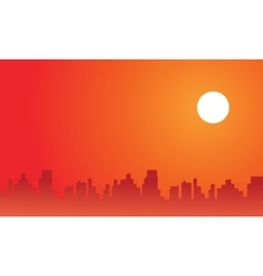 At afternoon city scenery silhouettes vector