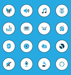 Audio colorful icons set collection of piano vector
