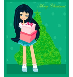 Beautiful girl with gift box - Christmas postcard vector