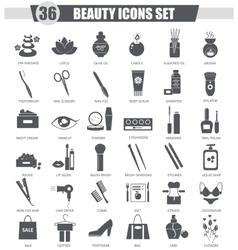 Beauty and cosmetics black icon set Dark vector image vector image