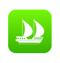 big yacht icon digital green vector image
