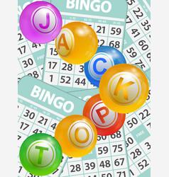 bingo jackpot balls over cards background vector image