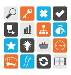 Black Simple Internet and Web Site Icons vector