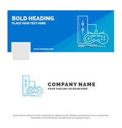 Blue business logo template for game gamepad vector