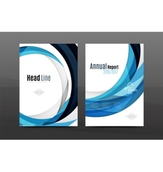 Blue wave annual report cover template vector