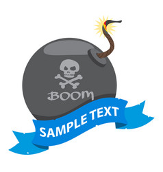 bomb on the pirate theme with ribbon banner vector image