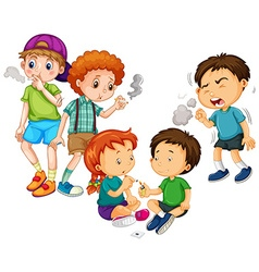 Boys and girl smoking cigarette vector