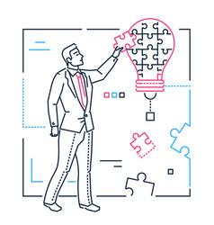 businessman doing puzzle - line design style vector image