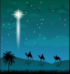Camel riders shining star in the night sky vector