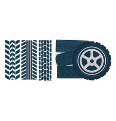car tires with muddy traces on white motocross vector image