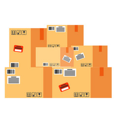 carton boxes with purchases delivering parcels vector image