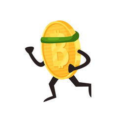 Cartoon golden coin with green sport headband vector