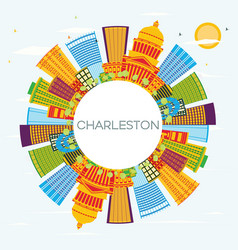 Charleston city skyline with color buildings blue vector