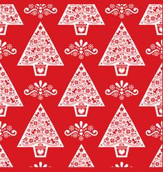 Christmas tree folk art seamless pattern- s vector