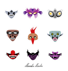 Clowns aliens and evils halloween masks set vector